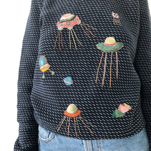 Image of Aliens visit 👽 - hand embroidered sweater made of organic cotton