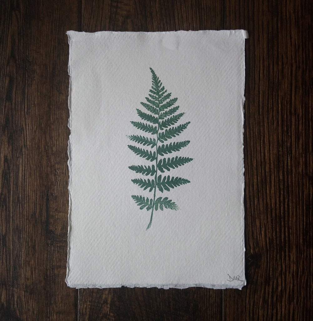 Image of Fern lino print in green