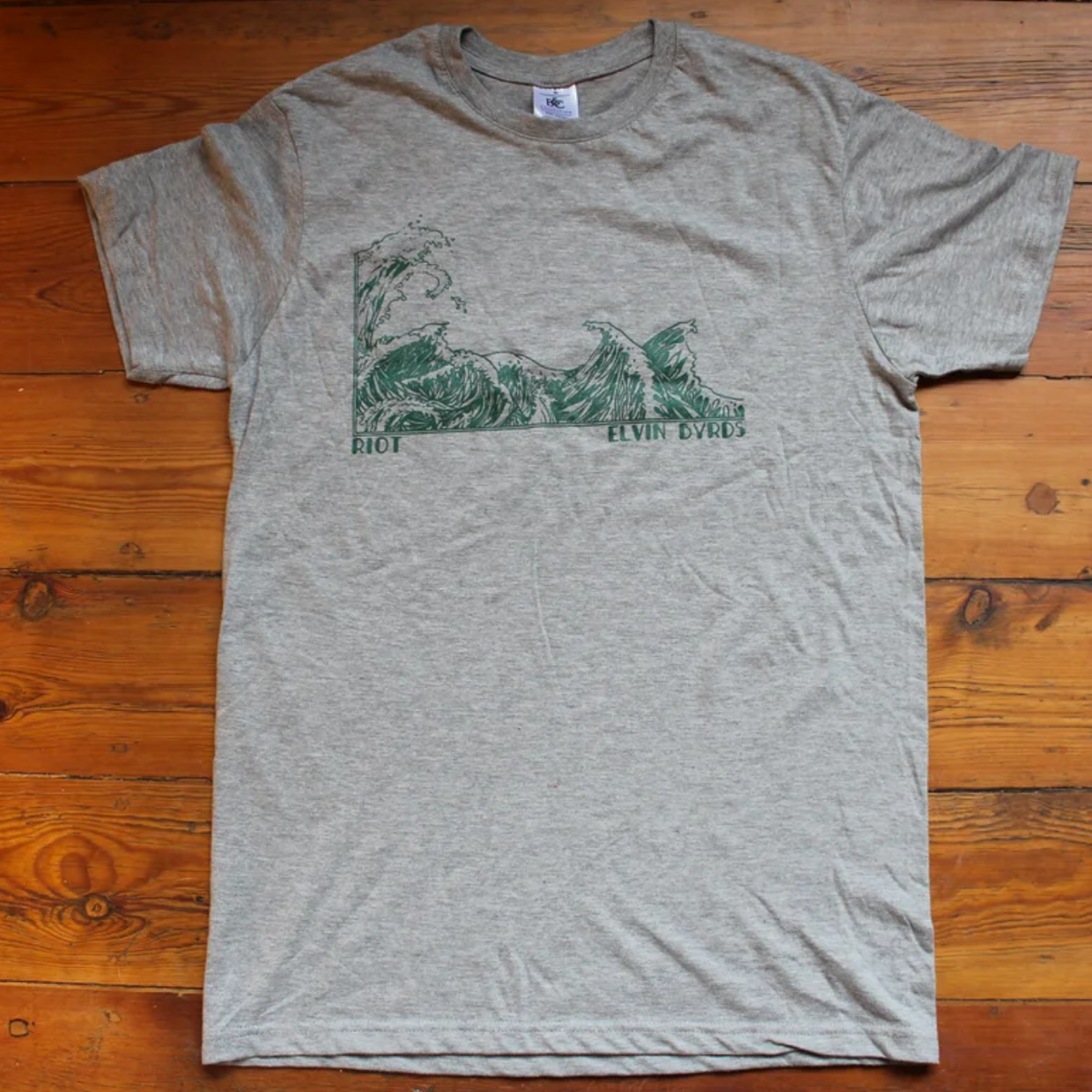 Image of ELVIN BYRDS — T-Shirt (Grey/Green)