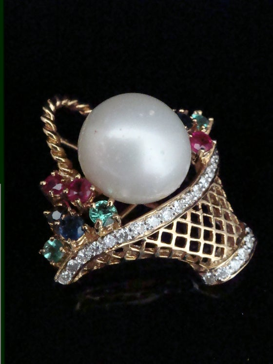 Image of FINE 18CT CULTURED SOUTH SEA PEARL, RUBY EMERALD SAPPHIRE AND DIAMOND TUTTI FRUTTI PENDANT BROOCH