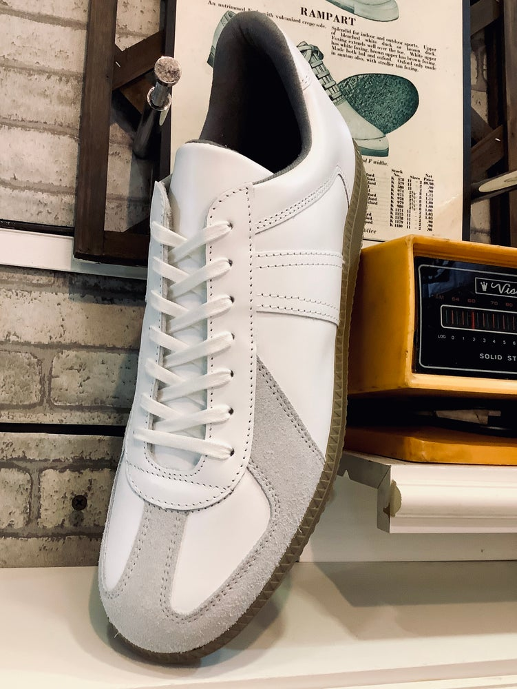 Image of VEGANCRAFT original white German army trainer sneaker shoes made in Slovakia