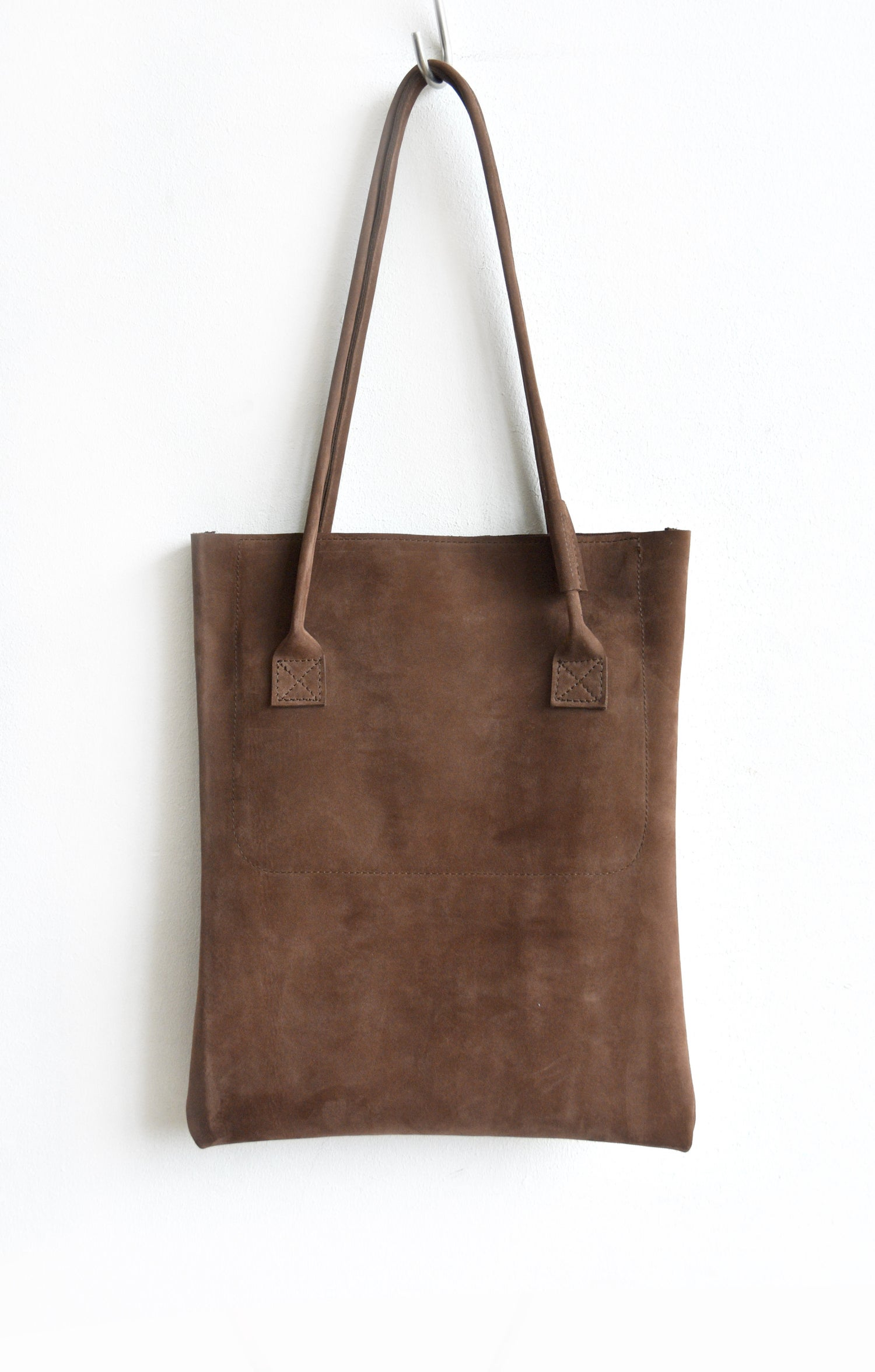Image of Hazelnut Leather Tote Bag, Brown Suede Leather Bag