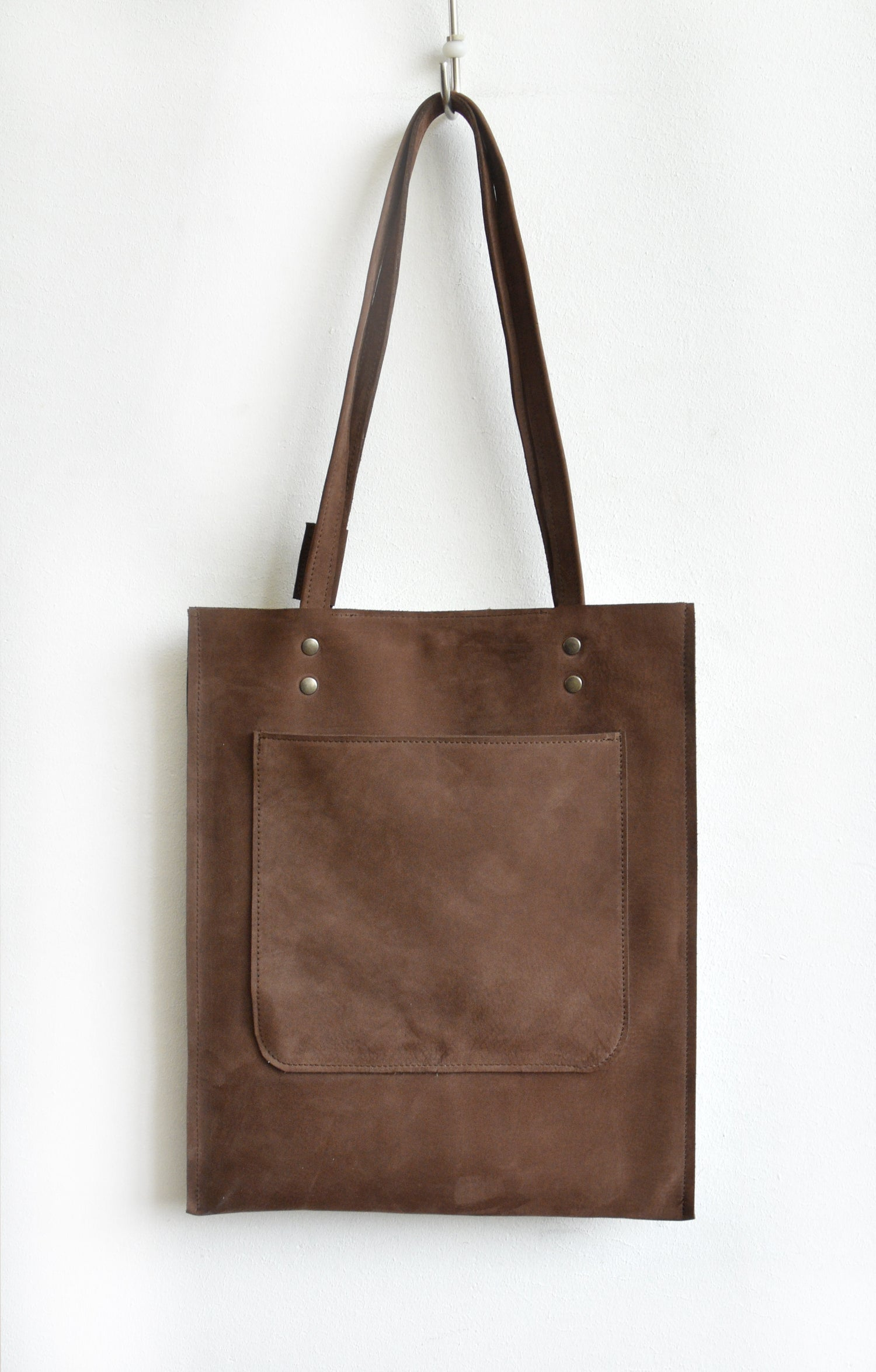 Image of Brown Nubuck Tote Bag, Velvety Shoulderbag,
