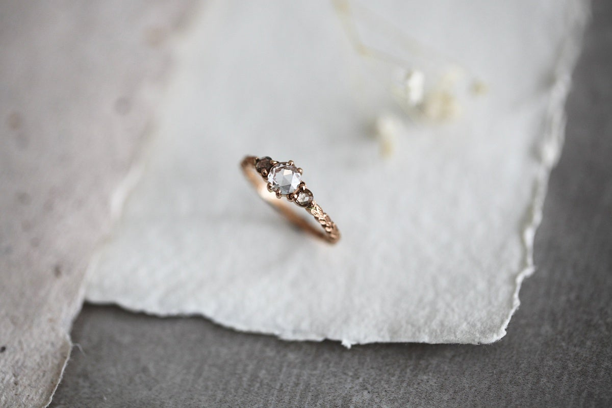 Image of 18ct Rose gold 5mm diamond trilogy ring (IOW129)