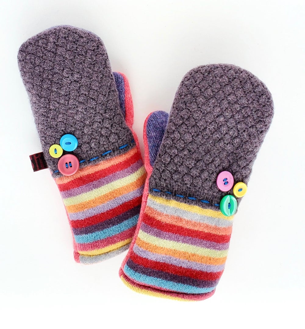 Image of Edit 2020 Repurposed Wool Sweater Mittens- Candy Stripe Vintage Button