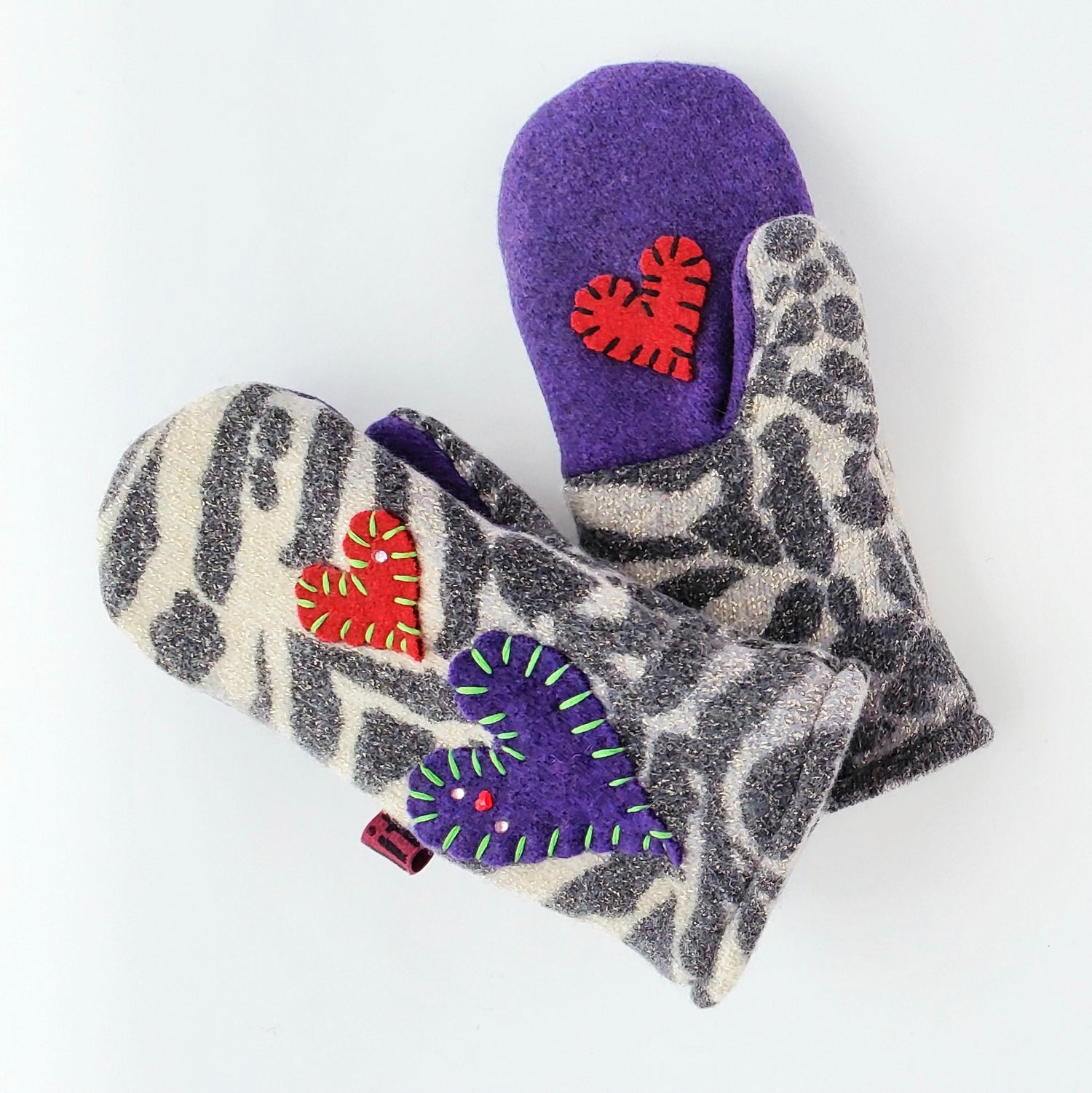 Image of 2020 Edit Repurposed Wool Sweater Mittens- Animal Print Love