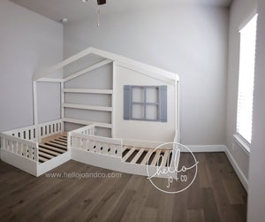 Image of Twin Twin Solid Wood Reading Nook L shaped bed