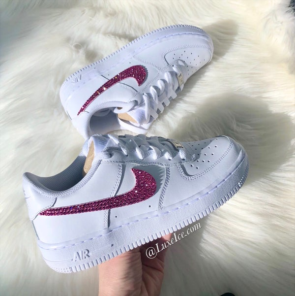 Image of Swarovski Nike Air Force 1 White customized with Pink SWAROVSKI® Xirius Rose-Cut Crystals.