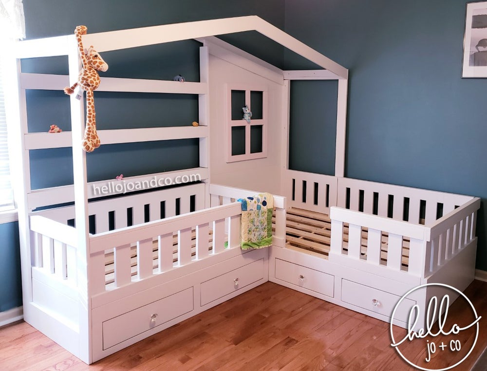 Solid Wood Reading Nook Bed with Drawers toddler bed kid's ...