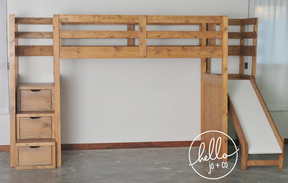 Image of Twin over Full over twin trundle solid wood bunk bed with stairs and slide