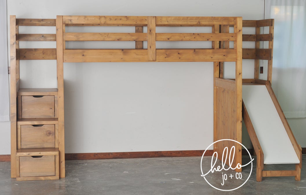 Picture of: Twin Over Full Over Twin Trundle Solid Wood Bunk Bed With Stairs And Slide Hello Jo Co