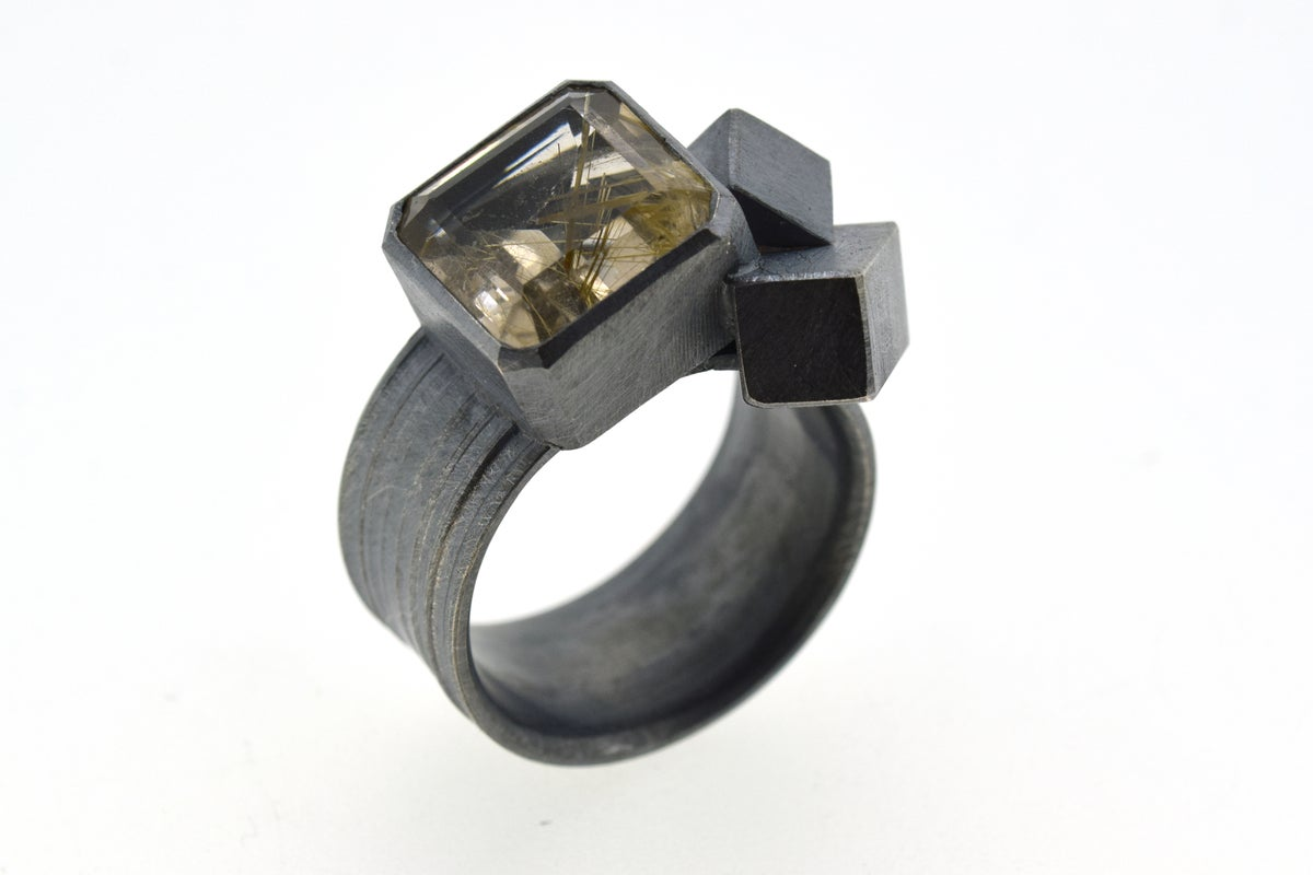 Silver Strata ring with 12mm emerald cut rutilated quartz, set in oxidized silver with cubes