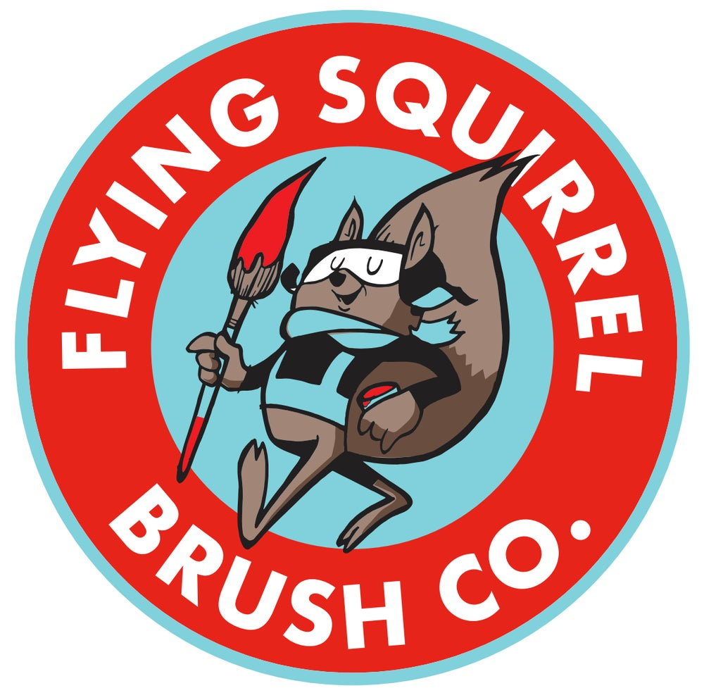 "Image of 3.5"" Flying Squirrel Brush Co. Die cut sticker"