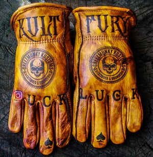Image of Greezmunky Kult Fury custom leather gloves