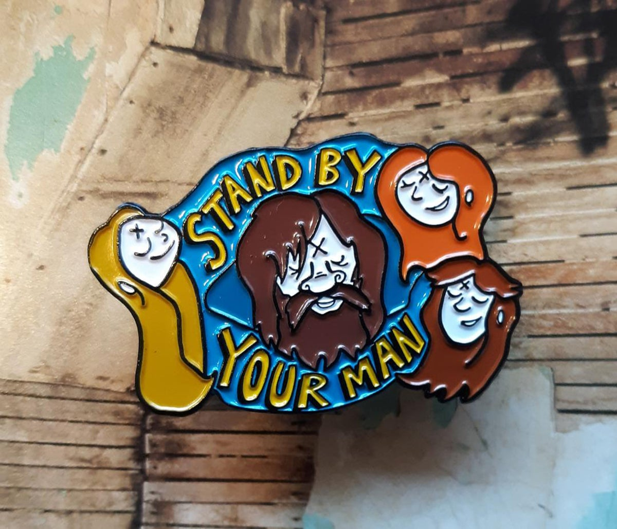 "STAND BY YOUR MANSON 1.75"" Manson Family Soft Enamel Pin"