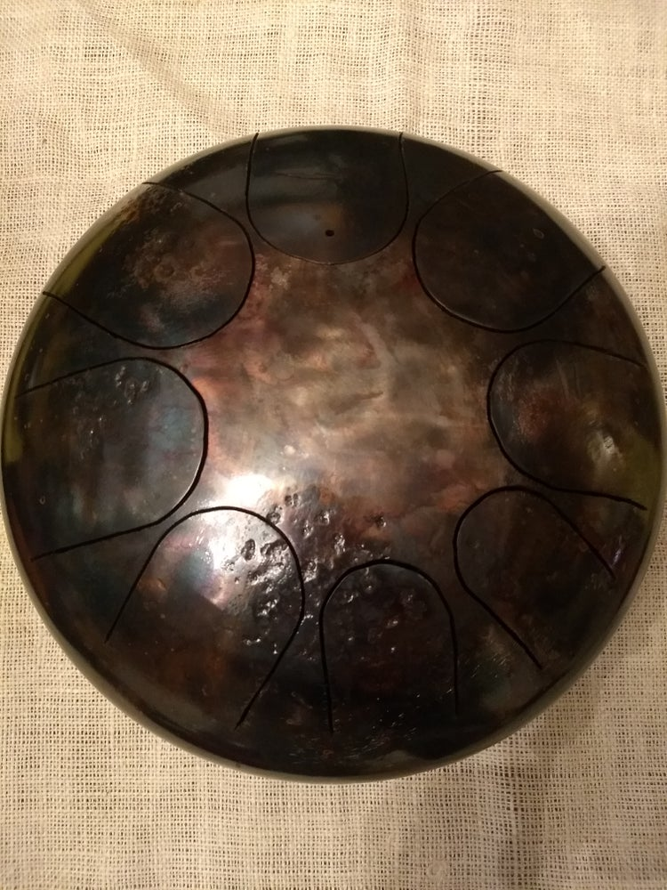 Image of 85 Dm 8-note Patina finish steel tongue drum