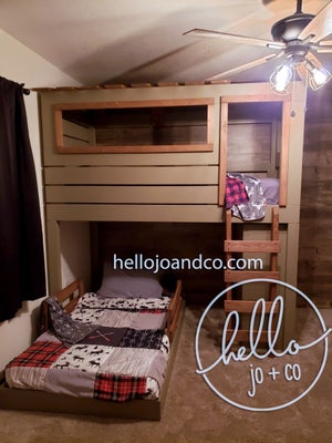 Image of Solid Wood Hunting Blind loft bed bunk bed clubhouse bed with dresser