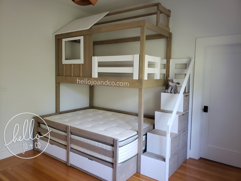 Image of Solid Wood Loft Bed, Bunk bed, Bunk Bed with stairs, Convertible Bed