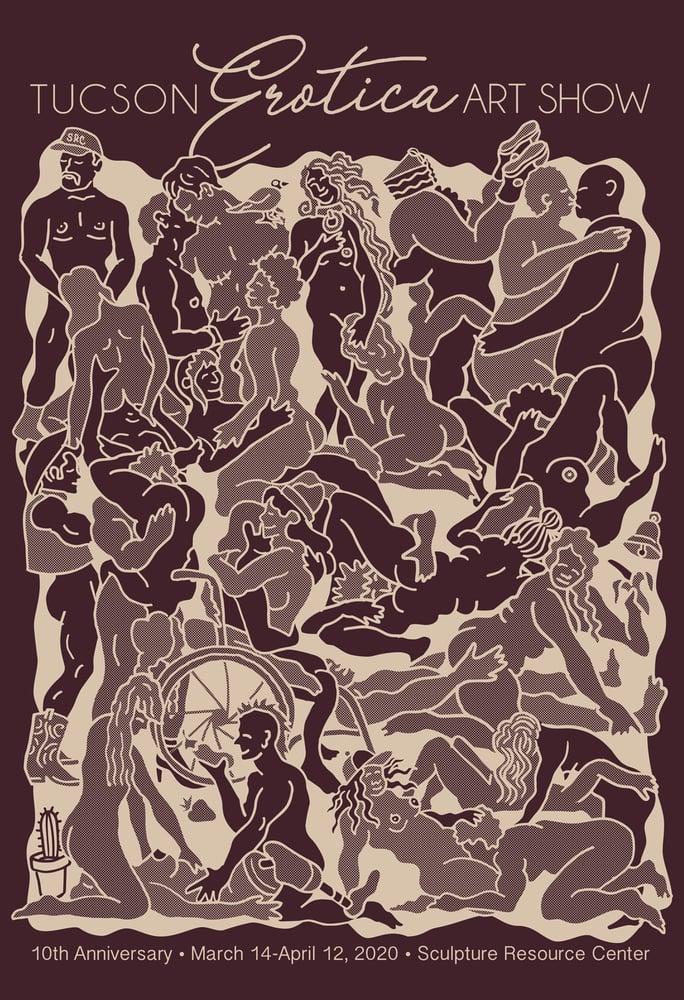 "Image of ""Tucson Erotic Art Show Orgy"" - Oxblood Black Unisex Tee"