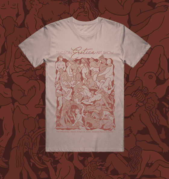 "Image of ""Tucson Erotic Art Show Orgy"" - Heather Prism Peach Tee"