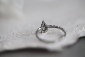 Image of Platinum pear shape 'Salt and Pepper' rose cut diamond ring (IOW142)