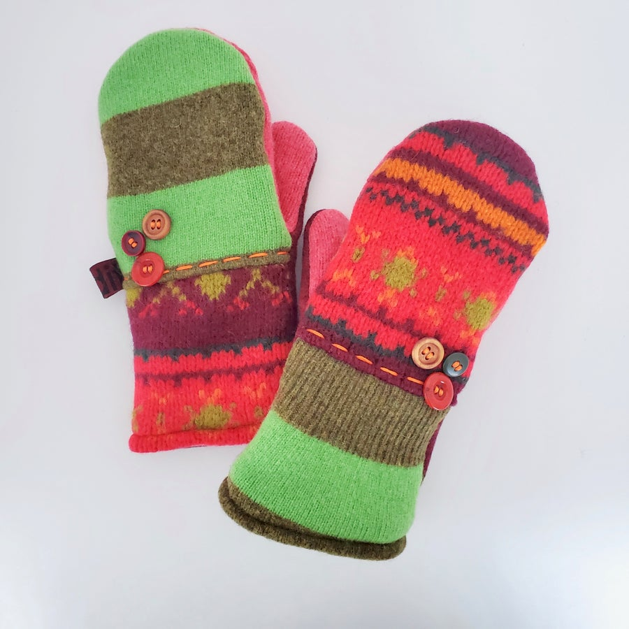 Image of Edit 2020 Repurposed Wool Sweater Mittens- Maroon/Green Mix