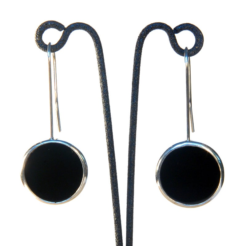 Image of Onyx Disc Earrings
