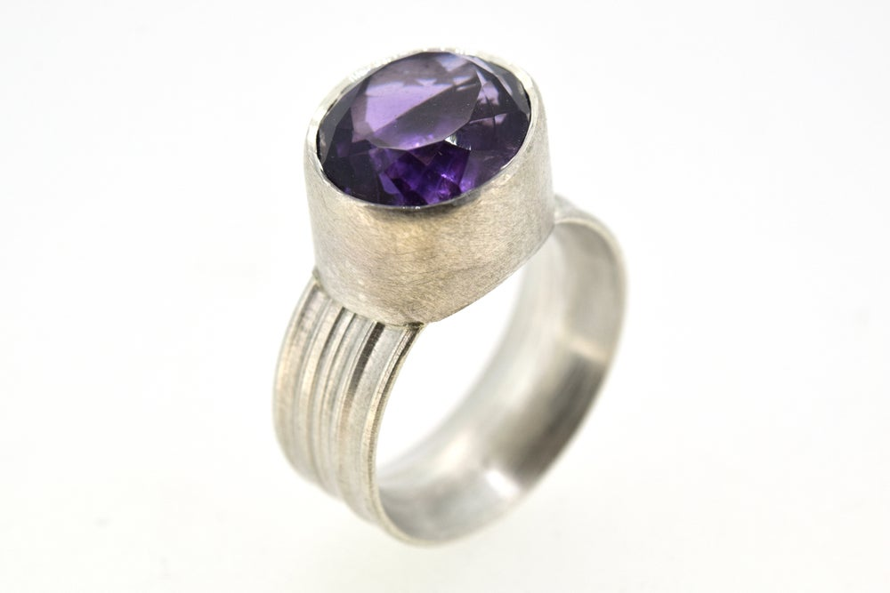 Image of Silver Strata ring with oval amethyst