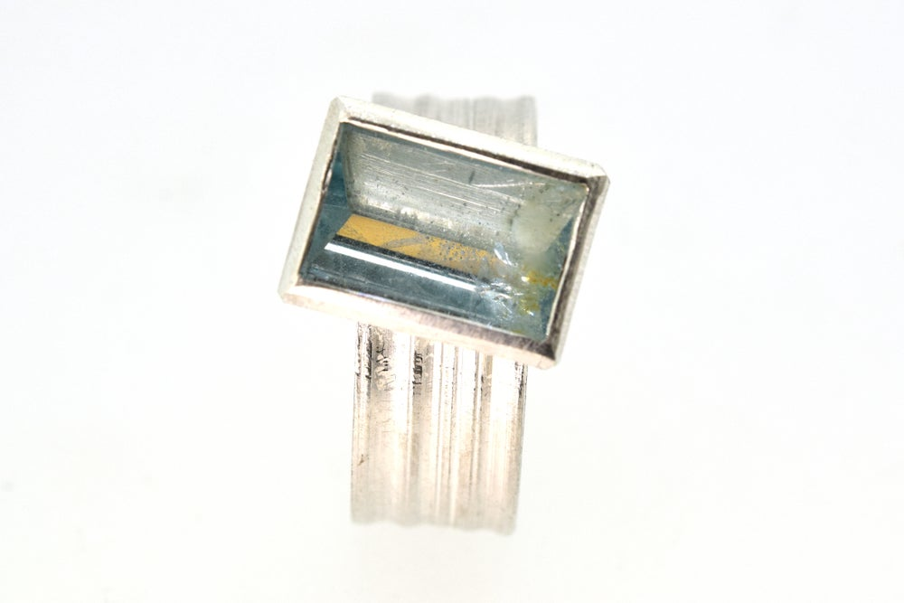 Image of Silver Strata ring with mirror cut aquamarine