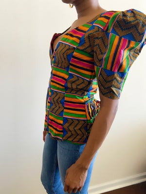 Image of Reconstructed Zip-Up African Printed Top - XS/S