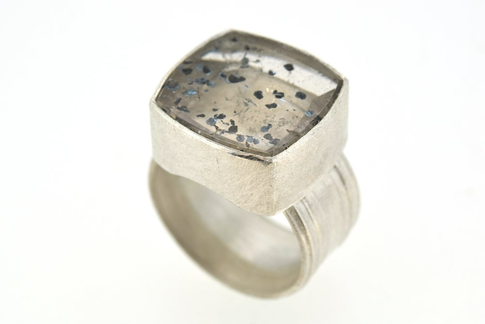 Image of Silver Strata ring with quartz with Hemetite Inclusions.