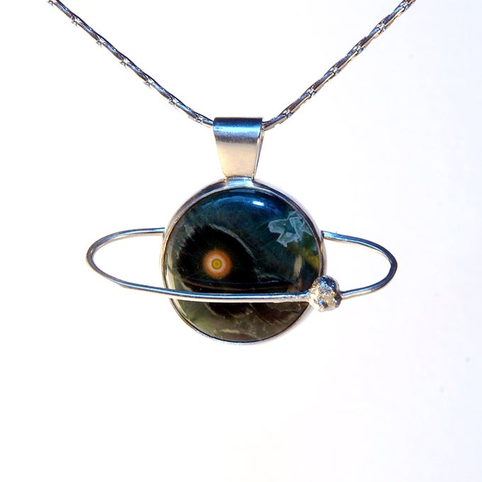 Image of Ocean Jasper Eye Planet Pendant