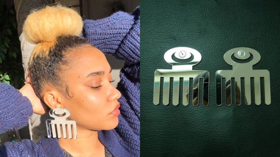 Image of Large Mirror Afro Pick Earrings