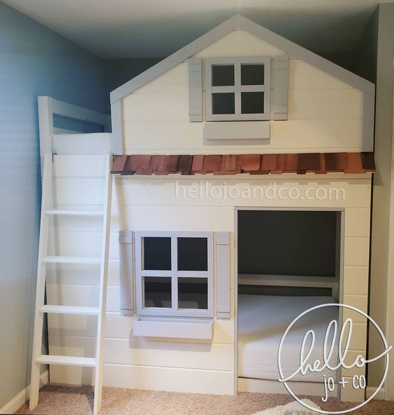 Image of Solid wood twin bunk bed loft bed bed for shared Room