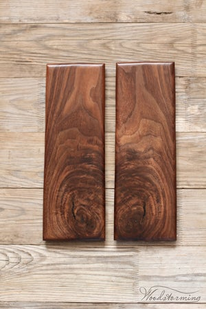Image of Walnut serving boards with natural knots and cracs - set of 2