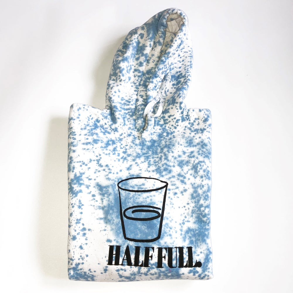 "Image of Tie Dye Half Full Hoodie ""Black on Blue """