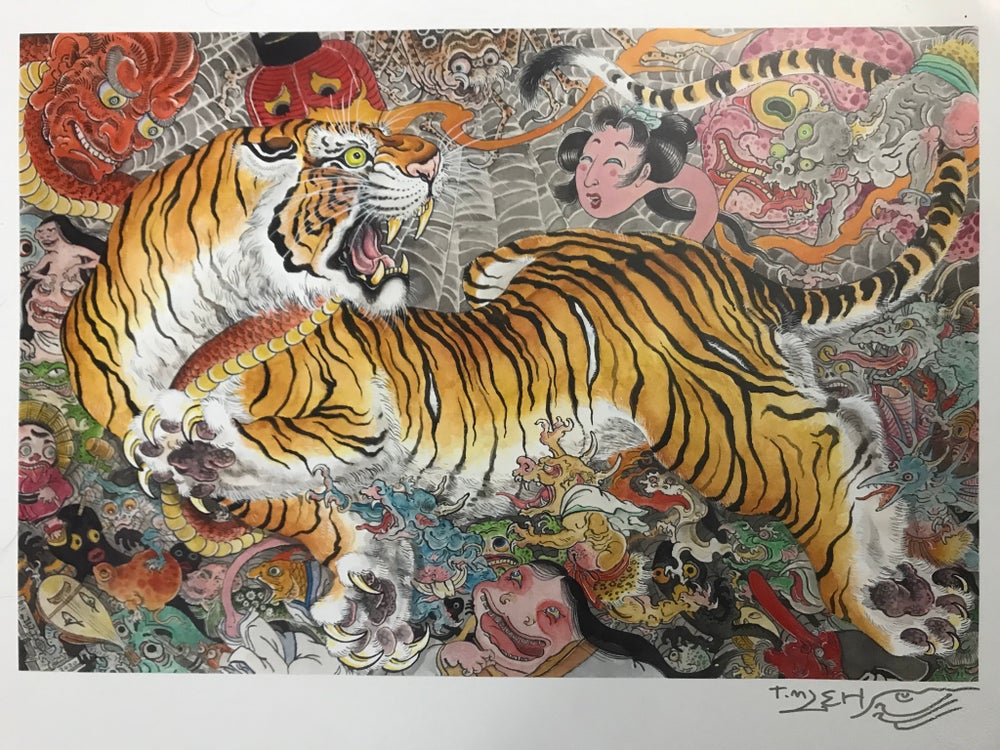 "Image of Lehi ""Tiger in a Yokai Parade"" Signed Poster"