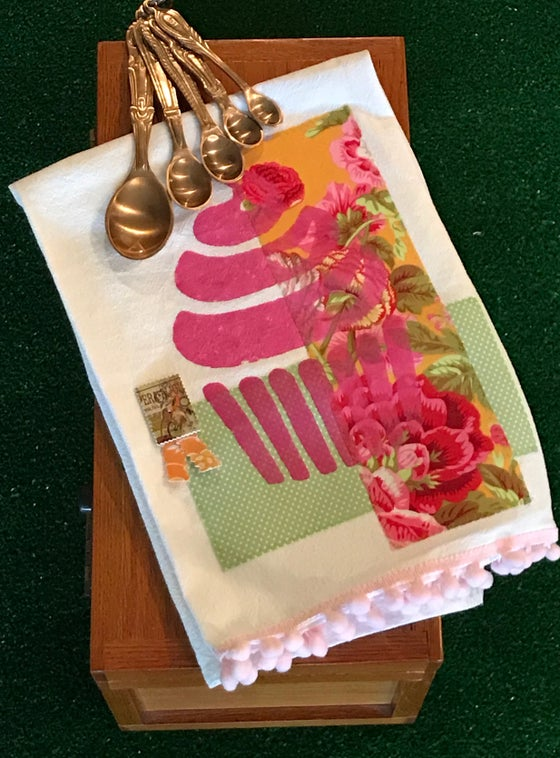 Image of Flour Sack Tea Towel, Pink Cupcake with Bright Gold and Pink Fabric
