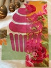 Flour Sack Tea Towel, Pink Cupcake with Bright Gold and Pink Fabric