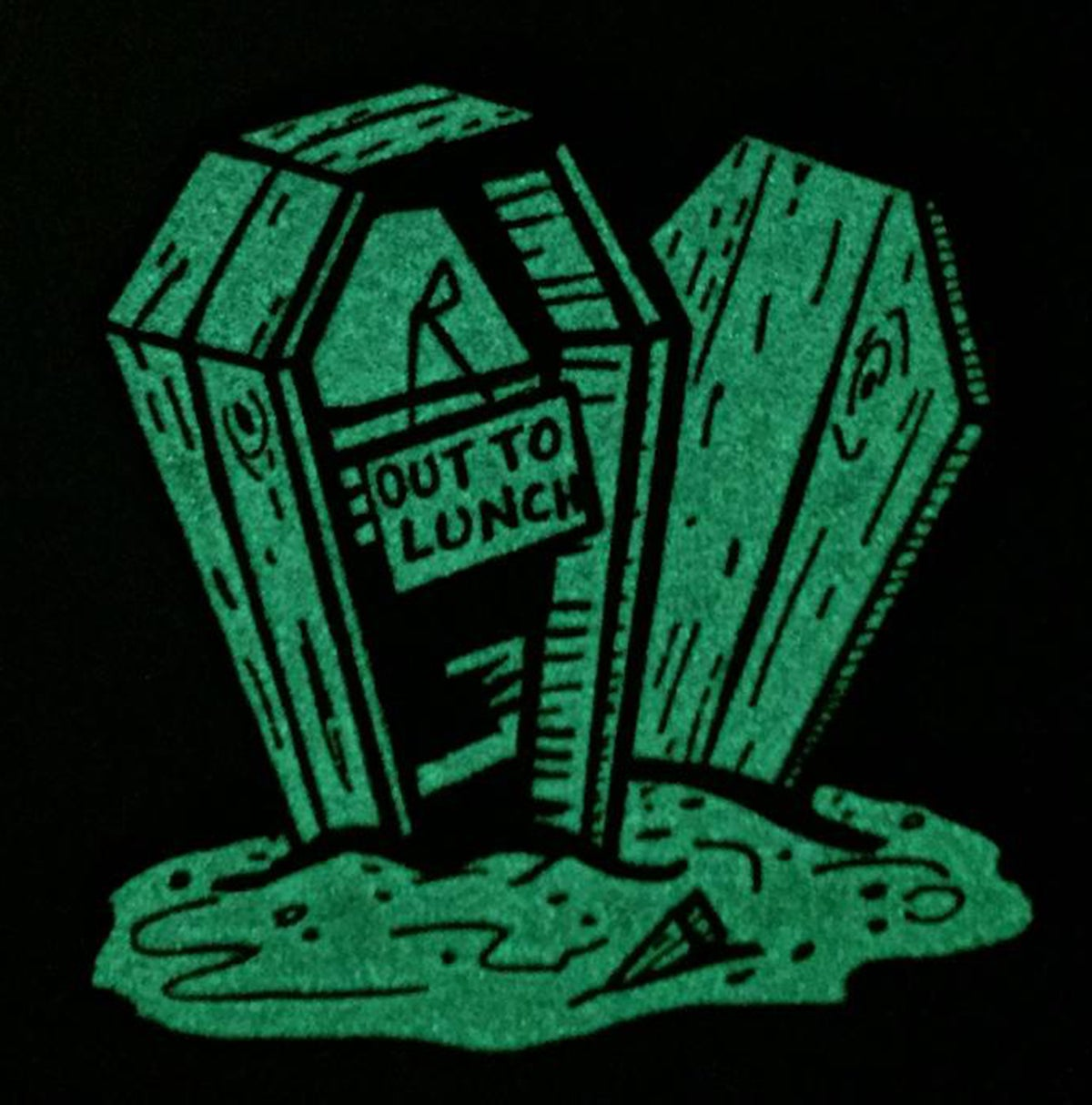 """OUT TO LUNCH 1.75"""" Glow-in-the-Dark Vampire Soft Enamel Pin"""
