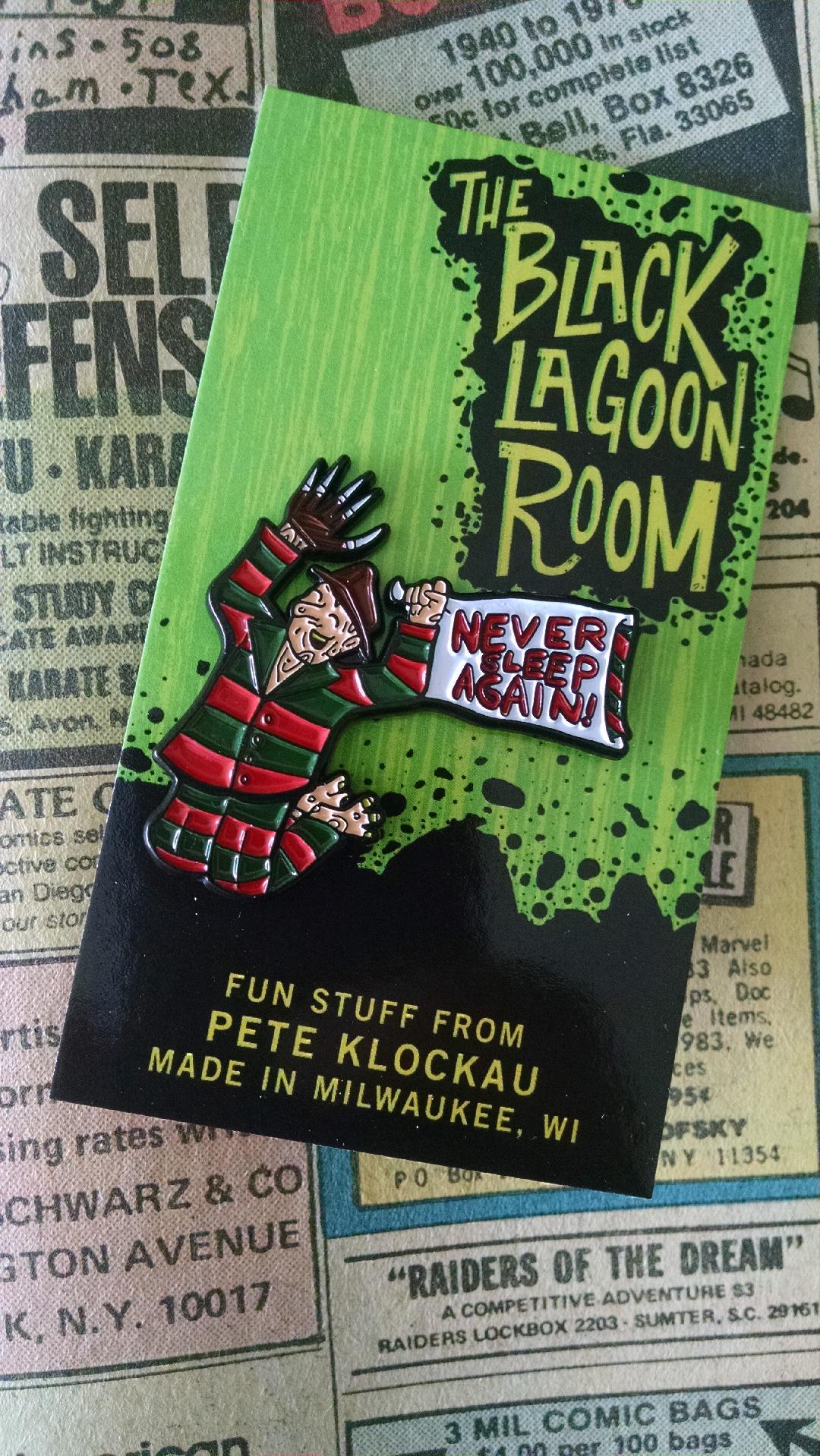 "NEVER SLEEP AGAIN Slumber Party Freddy Krueger 1.5"" Soft Enamel Pin"