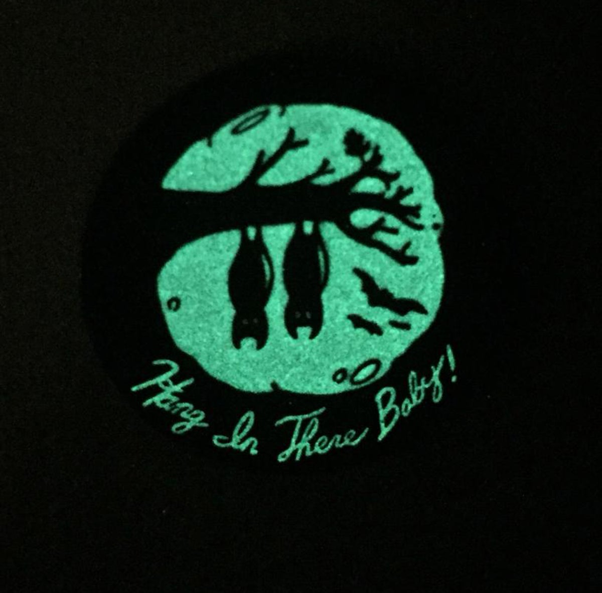 "HANG IN THERE, BABY! 1.5"" Glow-in-the-Dark Soft Enamel Vampire Pin"