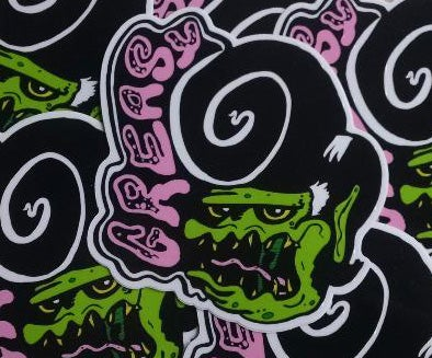 "GREASY Ed Roth Fink-style 4"" Vinyl Sticker"