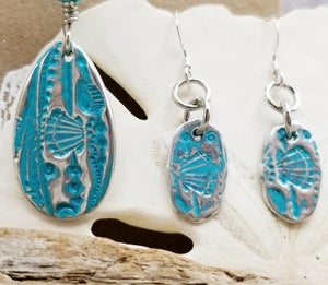 Image of Fine Silver-Sea Glass- Agate- Necklace- Earrings- #296