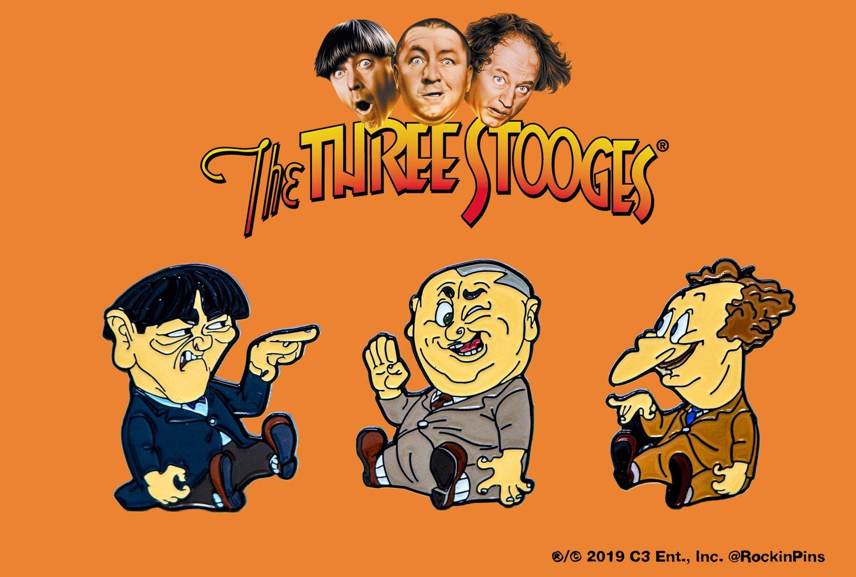 Image of The Three Stooges - Cartoon Enamel Pin Set