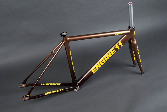 Image of 2020 E11 Vortex frameset in Brown Yellow color way.