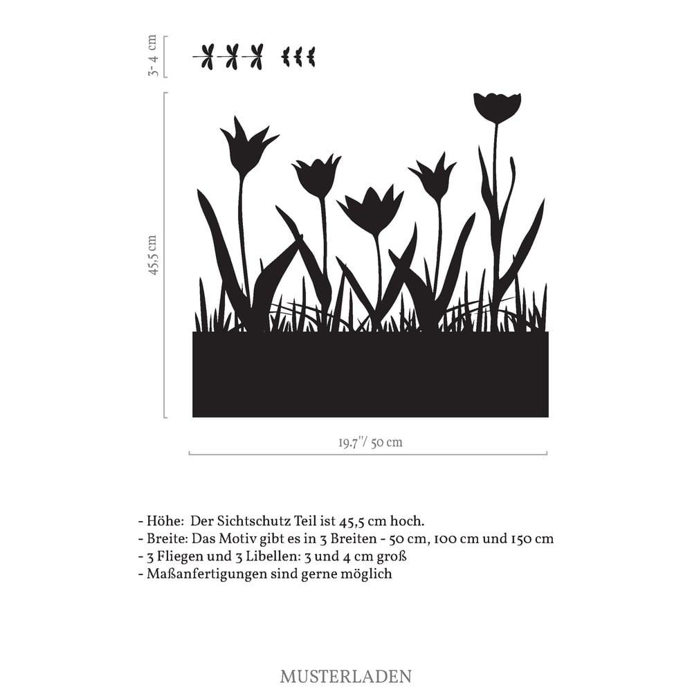 Image of Fensterfolie Wiese mit Tulpen, Libellen und Fliegen