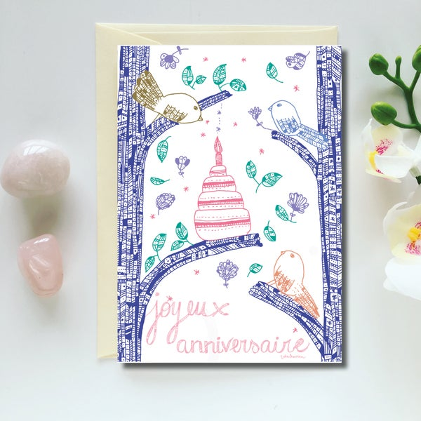 Image of Greeting Card *Joyeux Anniversaire Birds*