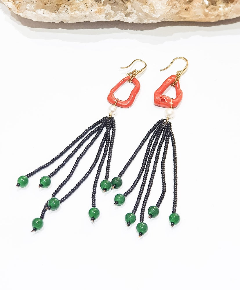 Image of Coral Tassel Earrings
