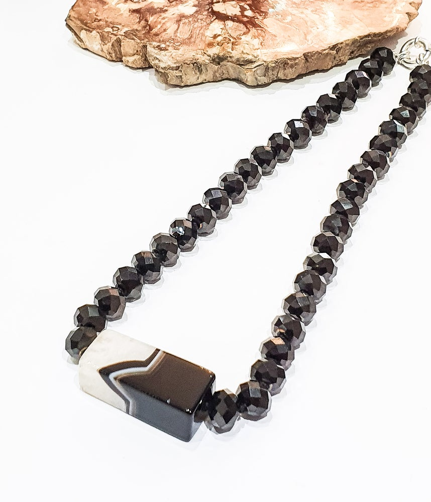 Image of Agate and Black Crystal Necklace
